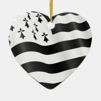 Heart with Bretin flag inside Ceramic Ornament