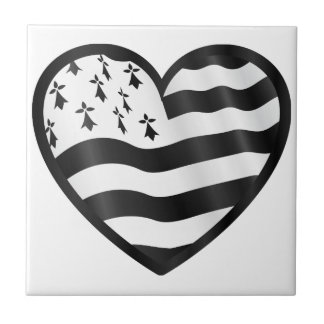 Heart with Bretin flag inside Ceramic Tile