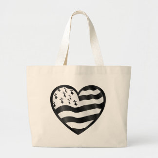 Heart with Bretin flag inside Large Tote Bag