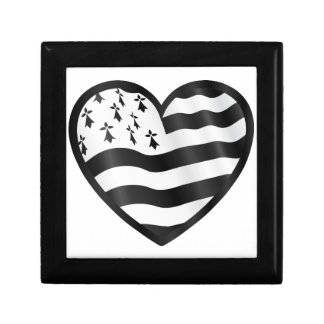 Heart with Bretin flag inside Small Square Gift Box