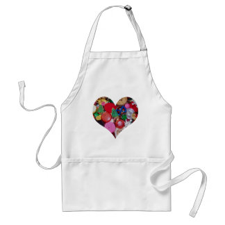 Heart with Christmas Tree Buttons Adult Apron