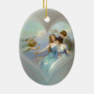 Heart with Cupid and Ladies Ceramic Ornament