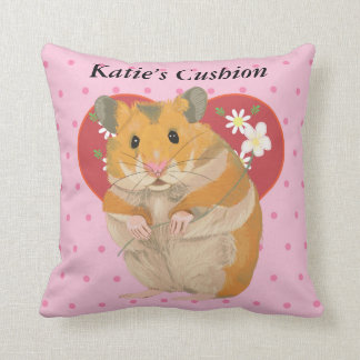 Heart with Daisies and Pink Dots Hamster Cushion