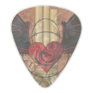 Heart with dragon and wings pearl celluloid guitar pick