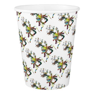 Heart with Flowers Abstract Gifts Paper Cup