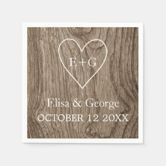 Heart with initials wood grain rustic wedding paper napkins