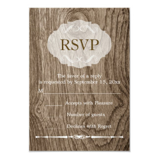 Heart with initials wood grain rustic wedding RSVP Card
