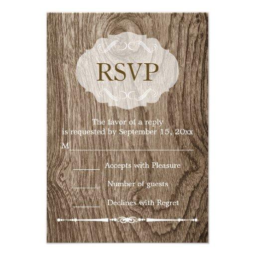 Heart with initials wood grain rustic wedding RSVP Custom Invitation