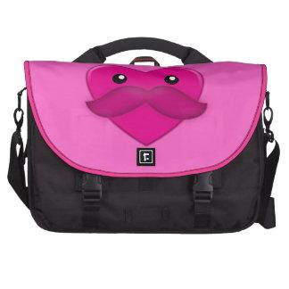 Heart with Moustache Bag Laptop Messenger Bag
