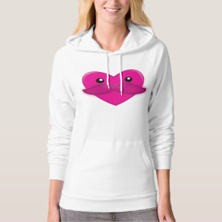 Heart with Moustache Hoodie
