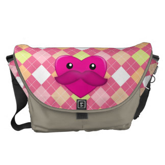 Heart with Moustache Messenger Bag