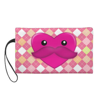 Heart with moustache Wristlet