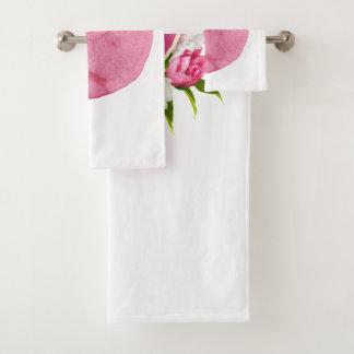 Heart with peones Mom I Love You Bath Towel Set