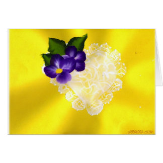 HEART WITH PURPLE FLOWERS GREETING CARD