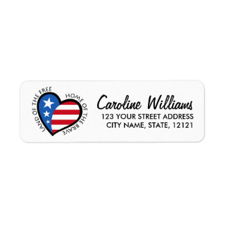 Heart with stars and stripes return address return address label