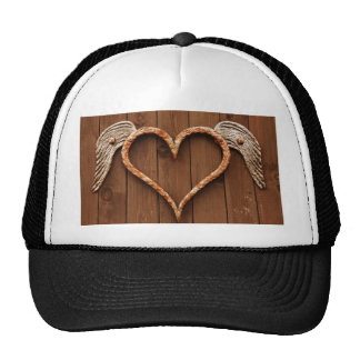 Heart with Wings Against Rustic Wooden Boards Cap