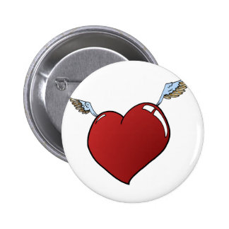 Heart with Wings 6 Cm Round Badge