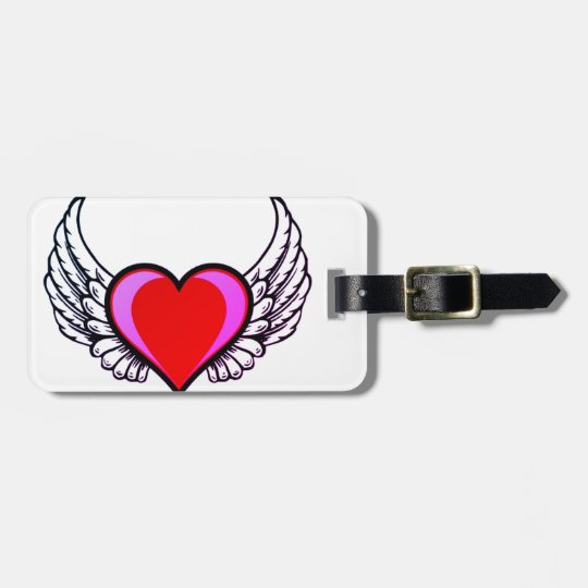 heart with wings luggage tag