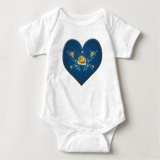 Heart with yellow roses baby bodysuit