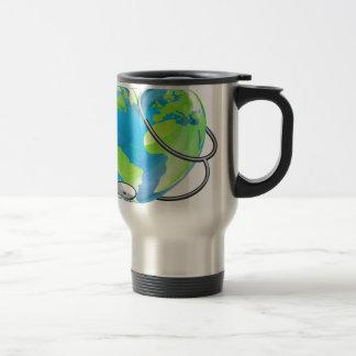 Heart World Health Day Earth Stethoscope Globe Con Travel Mug