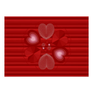 Heart Wreath on Red Stripes Poster