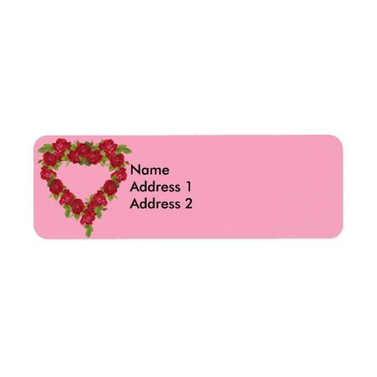 Heart Wreath Red Roses Return Address Label