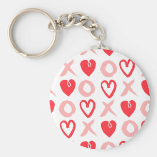 Heart XOXO Pink Red Valentine Love / Andrea Lauren Basic Round Button Key Ring
