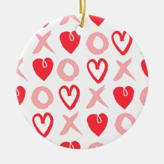 Heart XOXO Pink Red Valentine Love / Andrea Lauren Round Ceramic Decoration