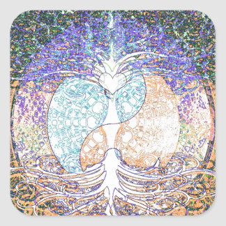 Heart, yin yang, tree of life by Amelia Carrie Square Sticker