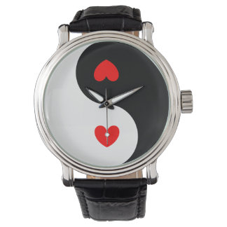 Heart Ying Yang Symbol Black White Red Hearts Wave Wristwatches