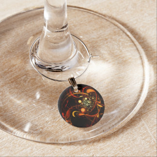 Heartbeat Abstract Art Wine Charm