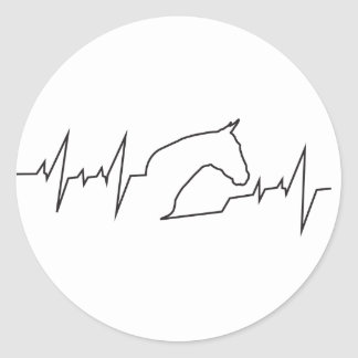 Heartbeat Horse Head Classic Round Sticker