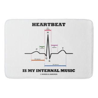 Heartbeat Is My Internal Music EKG Sinus Rhythm Bath Mat