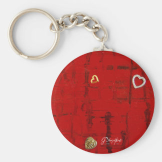 Heartbeat Basic Round Button Key Ring