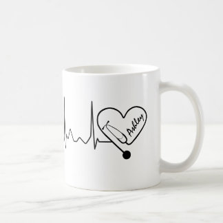 Heartbeat Nurse Doctor Stethoscope Personalized Coffee Mug