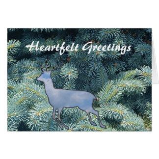 Heartfelt Wishes Reindeer winter holidays greeting Card