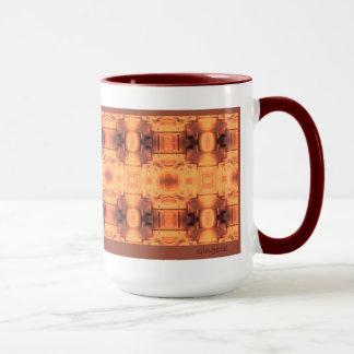 Hearth Screen Abstract mug with maroon trim