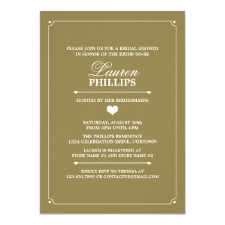 Heartline (Gold) Bridal Shower Invitations