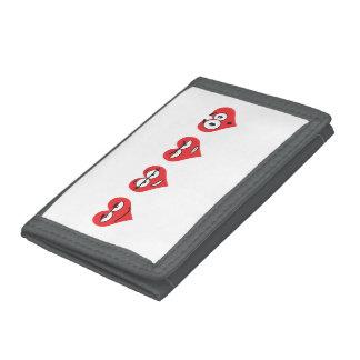 Heartmojis Black TriFold Nylon Wallet