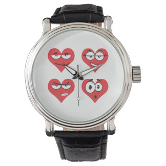 Heartmojis Custom Black Vintage Leather Watch