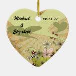 Hearts A Flutter Customised Wedding Keepsake Ceramic Heart Decoration