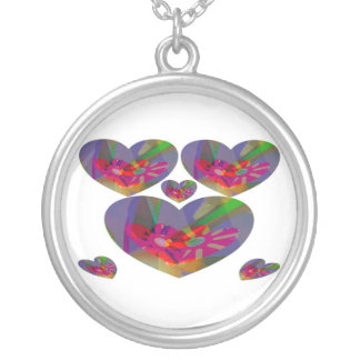 Hearts Abstract Round Pendant Necklace