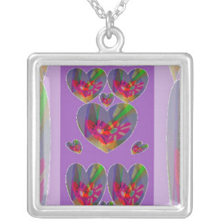 Hearts Abstract Square Pendant Necklace