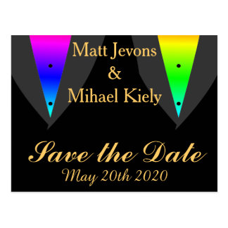 Hearts Aglow with Pride Gay Wedding Announcement Postcard