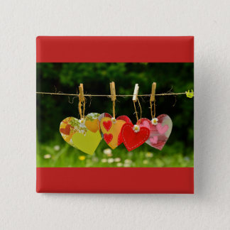 Hearts a'hanging 15 cm square badge