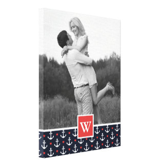 Hearts & Anchors Pattern   Add Your Name & Photo Canvas Print