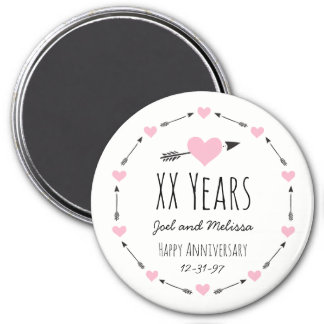 Hearts and Arrows Personalised Wedding Anniversary 7.5 Cm Round Magnet