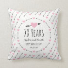 Hearts and Arrows Personalised Wedding Anniversary Cushion