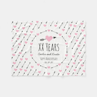 Hearts and Arrows Personalised Wedding Anniversary Fleece Blanket
