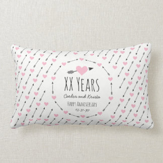 Hearts and Arrows Personalised Wedding Anniversary Lumbar Pillow
